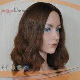 Peluca europea ondulada floja superior del pelo de Remy de la Virgen de la piel castaña del color