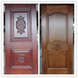 Porte en bois solide de 100%, porte d'entrée en bois de bois de construction avec la bonne qualité
