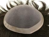 Toupee del pelo humano de los hombres suizos llenos de calidad superior del cordón
