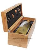 A caixa de presente de bambu contínua do vinho ajustou-se por Caso Elegância