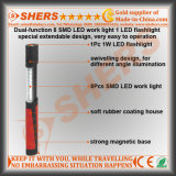Extensible 8 SMD LED del trabajo de la antorcha 1 LED Base Magnética
