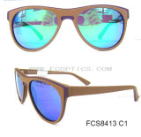 Moldura de óculos de sol polarizados de moda de madeira