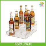 Stands acryliques clairs de crémaillère d'étalage de portes-bouteilles de vin