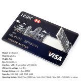Leizhan Kreditkarte USB-Blitz-Laufwerk 32g Pendrive Hochgeschwindigkeitsdes usb-64G Stock-16g Blitz-Laufwerk kundenspezifisches Firmenzeichen USB-Geschenk Feder-des Laufwerk-8g