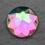 30mm 아크릴 모조 다이아몬드 공간 Ab 편평한 뒤 둥근 모조 다이아몬드는 복장 (SW 둥근 30mm 결정 ab)를 위한 아크릴 구슬을 꿰매는 돌에 꿰맨다