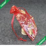 Kundenspezifischer kleiner Golddruck-Organza-Geschenk-Beutel