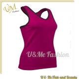 Le dessus de réservoir de polyester de coton pour la turbine folâtre des T-shirts pour des femmes