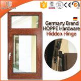 ventana de aluminio de la inclinación y de la vuelta de la rotura termal de madera del color del acabamiento del grano de madera de roble rojo 3D, ventana de la Aluminio-Madera