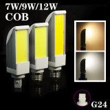 LEDのトウモロコシライトG24 7W 9W 12Wの穂軸の水平のプラグランプ