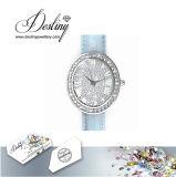 Het Kristal van de Juwelen van het lot van het Horloge van het Leer van de Aantrekkingskracht Swarovski