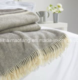 50%Merino Virgin Wool/50%Acrylic Blend Fringed Throw Blanket
