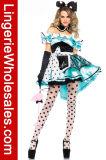 Восхитительный Costume Алиса Cosplay партии Halloween платья шнурка и сатинировки