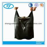 PET schwarze Abfall-Shirt-Plastikbeutel mit Griff