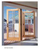 Portas de dobradura de alumínio da madeira contínua de projeto moderno do fornecedor de China, portas de dobradura de vidro bonitas de confiança