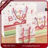 Bolsos del regalo de cumpleaños de la alta calidad con el bolso brillante del regalo del papel de arte del papel de la maneta de la cinta