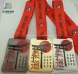Medaglia su ordinazione in lega di zinco di judo dello smalto di sport dell'oro del metallo del trofeo del ricordo del rifornimento di Jiabo con il nastro