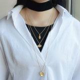 水晶悪のまなざしの中心の多層ビロードのチョークバルブのネックレスが付いている鎖