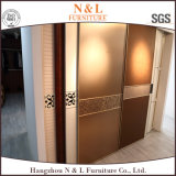 Конструкция шкафа шкафа спальни самомоднейшего роскошного деревянного зерна Walk-in