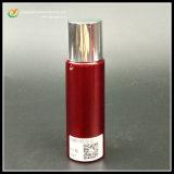 真珠色の赤いペットプラスチックびんは壁の化粧品の容器を考える