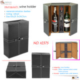 Contenitore di legno di cuoio su ordinazione nero di vino delle 2 bottiglie (2375R1)
