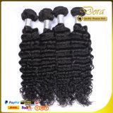 ブラジルのバージンの毛の拡張を編む自然で黒い人間の毛髪のよこ糸