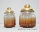 frasco de vidro do armazenamento do alimento 300-1000ml com a mão pintada e a tampa do metal