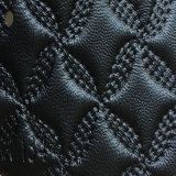 Couro sintético do plutônio Microfiber do PVC da alta qualidade para o sofá (HS-QF01)