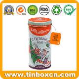 Scatola metallica rotonda dello stagno del tè del metallo con il commestibile per natale