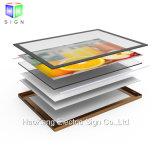 Tarjeta puesta a contraluz LED de la muestra del rectángulo ligero del marco del cartel del aluminio para la muestra de la visualización de los alimentos de preparación rápida del menú