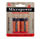 Bateria seca avançada de revestimento de PVC R14/C da potência 1.5V