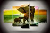 [هد] طبع فيل أسرة [بينتينغ كنفس] [برينت رووم] زخرفة طبعة ملصقة صورة نوع خيش [مك-082]