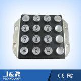 Teclado redondo do telefone de 16 chaves, teclado robusto do telefone do metal, teclado do intercomunicador