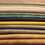 Couro artificial do plutônio da superfície colorida da camurça para a bolsa da sapata quente em EUA (E6082)