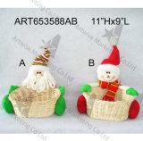 Muñeco de nieve Basket-2asst. de Santa de la decoración de la Navidad