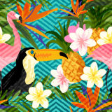 花および鳥の現代キャンバスプリント