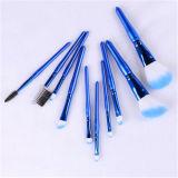 Hohes Qaulity 10PCS blaues kosmetisches Verfassungs-Pinsel-Set mit PU-Leder