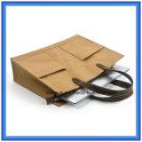 Nuevo bolso de mano de papel material de Du Pont de la llegada más con retraso, bolso de totalizador de papel portable modificado para requisitos particulares respetuoso del medio ambiente de las compras de Tyvek con la maneta del cuero de la PU