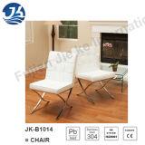 Weiß-rückseitiger Rest-Leder-Edelstahl, der Stühle (JK-B1014, speist)