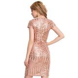 Schwarz-/Stutzen-nacktes Verband-Kleid der Rosen-Goldsequins-V