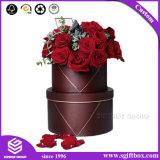 Caixa de presente de empacotamento de papel da flor redonda impermeável de Rosa