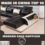 وسط حجم [ل] شكل أريكة أثاث لازم مع طاولة جلد