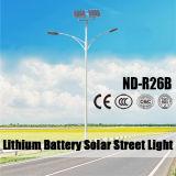 indicatore luminoso della via 40W LED di 7m con il comitato solare e la batteria di Lithuim