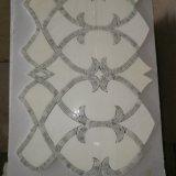 Telha de pedra barata, mosaico de mármore de Carrara, mosaico Waterjet branco