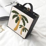 女性のためのSy8468 2017の新しいデザイン方法ハンドバッグの刺繍のココヤシの木ボックスショルダー・バッグ