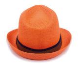 주황색 라피아 야자 밀짚 중절모 모자