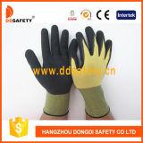 Ddsafety 2017 светлое - желтые перчатки покрытия латекса черноты полиэфира нейлона и Spandex