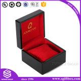 Presente de empacotamento vermelho de madeira preto da caixa de jóia de Velet