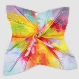 ロータスデジタル印刷の絹の正方形のスカーフ