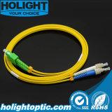 Cable Sca de la corrección de la fibra al amarillo a dos caras de FC SM