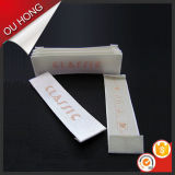 Escritura de la etiqueta tejida alta densidad del damasco de la marca, escritura de la etiqueta principal